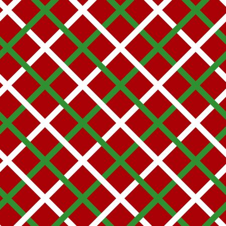 Simple green white line on red seamless pattern abstract checkered background. Christmas season, birthday holiday gift paper wrap. Repeat ornament fabric print, wallpaper decor. Vector illustration
