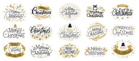 Merry Christmas and Happy New year hand drawn gold black lettering text set. Typography greeting cards. Wishing handwritten calligraphic postcard. Winter holiday poster Xmas banner Vector illustration