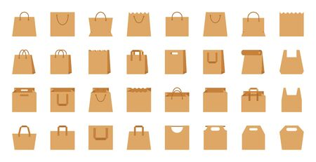 Shopping bag, paper craft, eco package flat cartoon icons set. Shop accessory, sale, buy, market organic packet, supermarket packaging simple icon symbol. Isolated on white vector Illustration