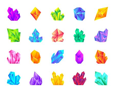 Crystal flat cartoon icons set. Gemstone kit isolated on white. Mineral collection amethyst, ruby, sapphire, topaz, emerald, diamond, quartz. Simple crystal symbol gradient icon vector illustration Vettoriali