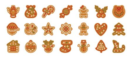Christmas gingerbread flat icons set. xmas cookies sign isolated on white. Home backing sweet food. Ginger biscuit, bell, deer, man. Simple holiday icon, gingerbread symbol. Vector illustration
