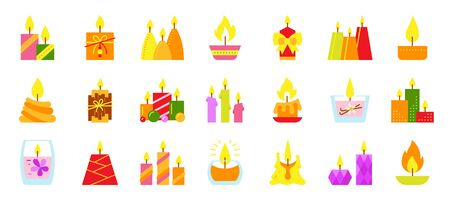 Candle flat icons set. Burning flame symbol. Light sign. Birthday, festive, halloween, christmas, church wax decoration, holiday glow fire. Candlelight, romantic lighting. Isolated vector illustration Vettoriali