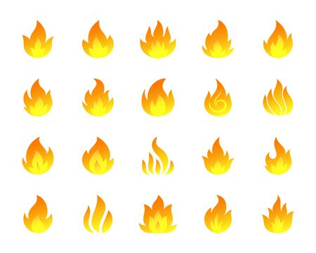 Burning fire flat cartoon icons set. Flame bonfiresign, fiery hell, glow symbol. Modern simple gradient icon, campfire, fireball, flare, shine, light. Isolated on white vector illustration