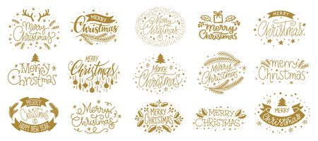 Merry Christmas and Happy New year hand drawn gold lettering text set. Typography greeting cards. Wishing handwritten calligraphic postcard. Winter holiday poster. Xmas banner. Vector illustration
