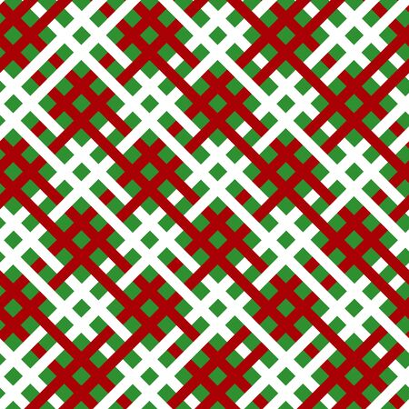 Simple red white line on green seamless pattern abstract checkered background. Christmas season, birthday holiday gift paper wrap. Repeat ornament fabric print, wallpaper decor. Vector illustration