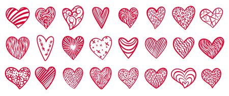 Heart doodle icons set. Love, valentines day, wedding sign. Romantic holiday symbol. Red, pink heart, decorative ornate pattern. Hand drawn graphic design shape. Isolated on white vector illustration Vettoriali