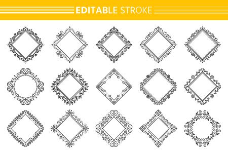 Decorative vintage ornamental frame set. Elegant rhombus monogram. Text frames certificate, menu, label, book, wedding card design. Square floral decor. Art deco border. Isolated vector Illustration Vettoriali