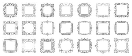 Decorative vintage ornamental frame set. Text frames for certificate, menu, book, wedding card design. Elegant monogram. Rectangle floral decor. Square art deco border. Isolated vector Illustration Vettoriali