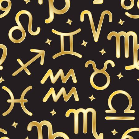 Signs of zodiac seamless pattern. Twelve gold sign of astrology and horoscope symbols background. Constellation icons repeat ornament for paper wrap, fabric print, wallpaper decor. Vector illustration