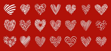 Heart doodle icons set. Love, valentines day, wedding sign. Romantic holiday symbol. White line decorative ornate pattern. Hand drawn graphic design heart shape. Isolated vector illustration