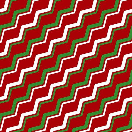 Simple white green zigzag line on red seamless pattern abstract background. Christmas season, birthday holiday gift paper wrap. Repeat ornament fabric print, wallpaper decor. Flat vector illustration Standard-Bild - 135291035