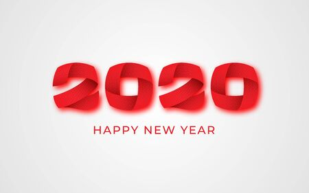 2020 happy new year red numeral text banner. Abstract winter holiday greeting card design. 3d numbers shape with shadow. Christmas magic time calligraphy poster template. Vector illustration Vettoriali