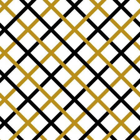 Simple gold black line on white seamless pattern abstract checkered background. Christmas season, birthday holiday gift paper wrap. Repeat ornament fabric print, wallpaper decor. Vector illustration Vettoriali