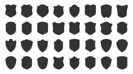 Shields glyph icons set. Security symbol. Coat arms silhouette icon. Safety, defense, protection signs for emblem, badge. Privacy protect black sign design. Isolated vector illustration Vettoriali