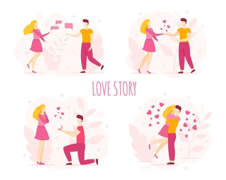 Love story, romantic couple set. Abstract characters, flat style. Acquaintance, fall in love, proposal to married, wedding. Bride and groom, newlyweds silhouette. Valentine's day vector illustration