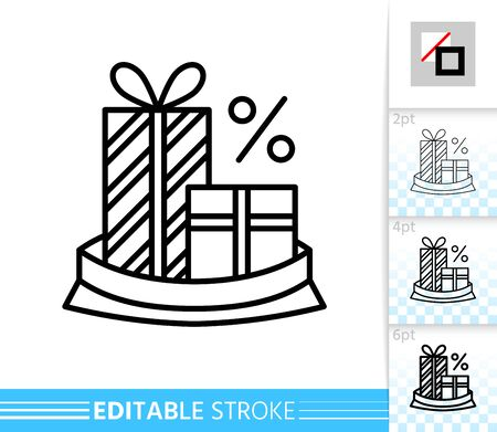 Gift box sale, winter season clearance, special offer percent off line icon. Editable stroke outline sign. Christmas gift time symbol. Single closeup simple linear icon. Isolated vector illustration
