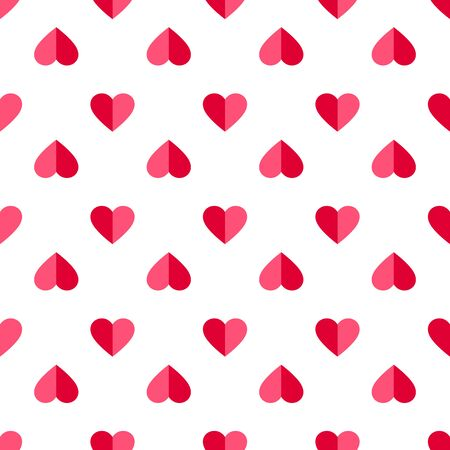 Heart seamless pattern. Love, valentine's day, wedding, romantic symbol. Paper style pink, red hearts sign repeat ornament background for paper wrap, fabric print, wallpaper decor. Vector illustration