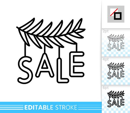 Sale garland on christmas tree branch line icon. Editable stroke outline sign. Holidays time symbol, winter season clearance design. Single closeup simple linear icon. Isolated vector illustration