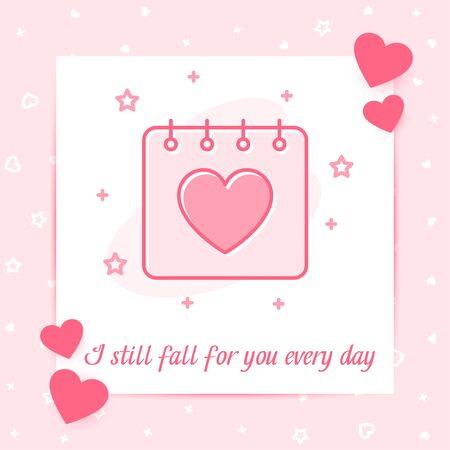 Valentines day, february 14 calendar with heart, valentine card with love text, pink color line icon with decor, social networks post template. Love, wedding, romantic symbol. Vector illustration