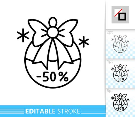 Christmas ball with bow special offer percent off line icon. Editable stroke outline sign. Christmas time symbol Holiday winter season clearance. Single closeup simple linear icon. Vector illustration