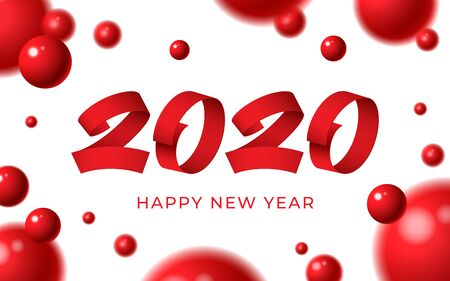 2020 happy new year background. Numeral text calligraphy banner. Abstract white red balls 3d blurry shape greeting card. Christmas magic time poster template Winter holiday concept vector illustration