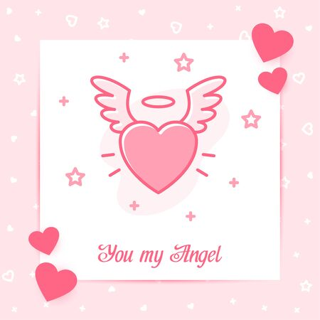 Heart with wings and halo valentine card, You my Angel text, Valentines day, february 14, pink line icon with decor, social networks post template. Love, wedding, romantic symbol. Vector illustration Vettoriali