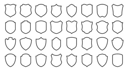 Shields line icons set. Security symbol. Coat arms linear icon. Safety, defense, protection outline signs for emblem, badge. Privacy protect contour sign design. Isolated vector illustration