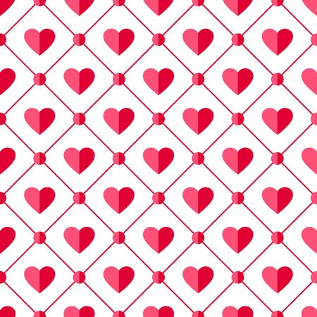 Heart seamless pattern. Love, valentine's day, wedding, romantic symbol. Paper style pink, red hearts and circle ornament background for paper wrap, fabric print, wallpaper decor. Vector illustration Standard-Bild - 137236555