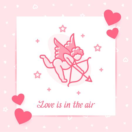 Cupid on valentine card with Love is in the air text for valentine's day, february 14, pink color, line icon style with decor template design. Love, wedding, romantic symbol. Vector illustration Vettoriali