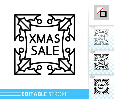 Holly berry Xmas sale line icon. Editable stroke outline sign. Christmas gift time symbol, winter season clearance design. Single closeup simple linear icon. Isolated on white vector illustration