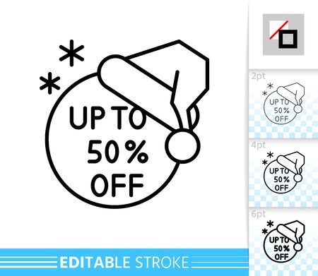 Santas hat special offer percent off line icon. Editable stroke outline sign. Christmas sale symbol, winter holiday season clearance. Single closeup simple linear icon. Isolated vector illustration
