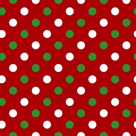 Simple green white circle on red seamless pattern abstract background. Christmas season, birthday holiday gift paper wrap. Repeat ornament for fabric print, wallpaper decor. Flat vector illustration