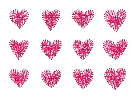 Exclusive Valentine's Day Gift. DIY embroidered heart. Valentine card handmade from thread. With love made for february 14 romantic present. Pink decorative graphic heart shape. Vector illustration