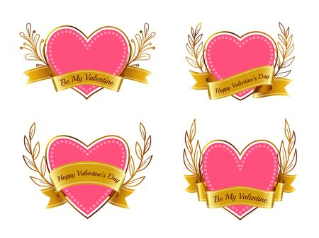 Pink heart with gold ribbon banner and floral branch wreath. Love, valentine's day, wedding symbol. Romantic text for february 14 valentine card. Tattoo design. Vector illustration Vettoriali