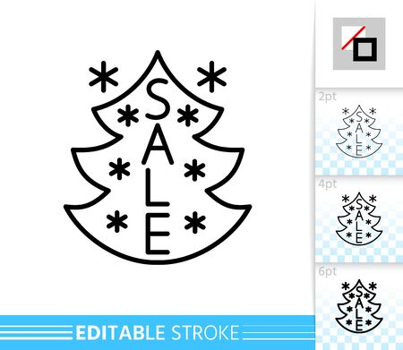 Christmas tree sale line icon. Editable stroke outline sign. Christmas time symbol, winter season clearance design banner. Single closeup simple linear icon. Isolated on white vector illustration