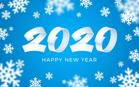 2020 happy new year background. Numeral text calligraphy banner. Abstract snowflakes white blue 3d greeting card. Christmas magic time poster template. Winter holiday concept vector illustration
