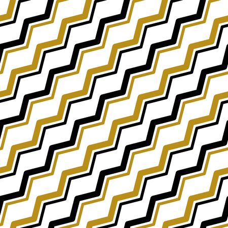 Simple gold black zigzag line on white seamless pattern abstract background. Christmas season, birthday holiday gift paper wrap. Repeat ornament fabric print, wallpaper decor. Flat vector illustration