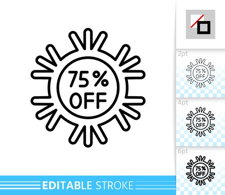 Snowflake percent off line icon. Christmas sale, new year holiday special offer. Editable stroke outline sign. Winter season clearance design. Single closeup simple linear icon. Vector illustration Vettoriali