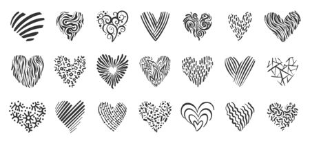 Heart doodle icons set. Love, valentines day, wedding sign. Romantic holiday symbol. Black line decorative ornate pattern. Hand drawn graphic design heart shape. Isolated on white vector illustration