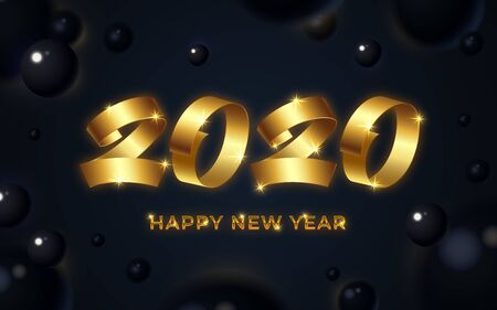 Happy new year 2020 background. Numeral calligraphy banner. Abstract gold text and black 3d blurry shape greeting card. Christmas magic time poster template Winter holiday concept vector illustration