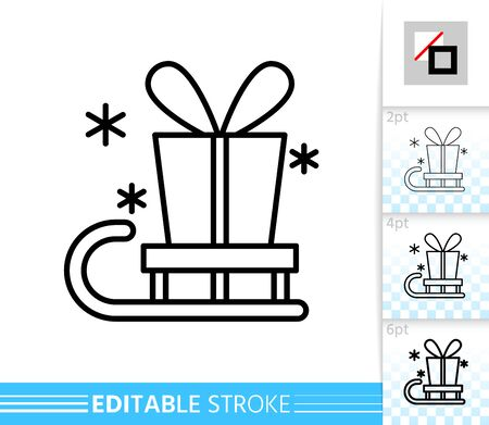 Present box on sled winter sale line icon. Editable stroke outline sign. Christmas gift time symbol, season clearance design. Single closeup simple linear icon. Isolated on white vector illustration Vettoriali