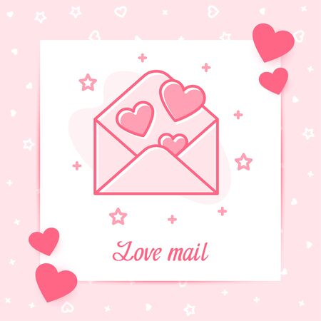 Open envelope with hearts, valentine card with love mail text for Valentines day, february 14, decor pink line icon, social networks post template. Love, wedding, romantic symbol. Vector illustration