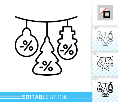 Special offer percent off garland line icon. Editable stroke outline sign. Christmas time symbol, winter season clearance. Single closeup simple linear icon. Isolated on white vector illustration