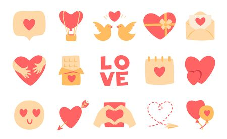 Love flat cartoon icon set. Valentines Day romantic symbols. Couple hearts, hugs, kiss, candy chocolate, sweet gift box icons. Simple february 14 love sign collection. Isolated vector illustration