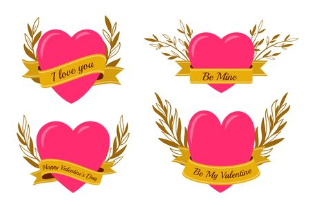 Heart with gold ribbon banner and floral branch wreath. Romantic text be my valentine, happy valentine's day for february 14 card. Love, wedding symbol. Tattoo design. Vector illustration