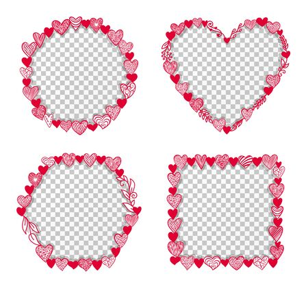 Valentine hearts frame transparent inside. Round, square, hexagon shape. Valentine's day, february 14 love card or sale banner templates with openwork ornate heart and floral sign. Vector illustration Vettoriali