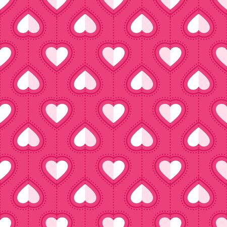 Heart seamless pattern. Love, valentine's day, wedding, romantic symbol. Paper style hearts sign repeat ornament pink, red background for paper wrap, fabric print, wallpaper decor. Vector illustration