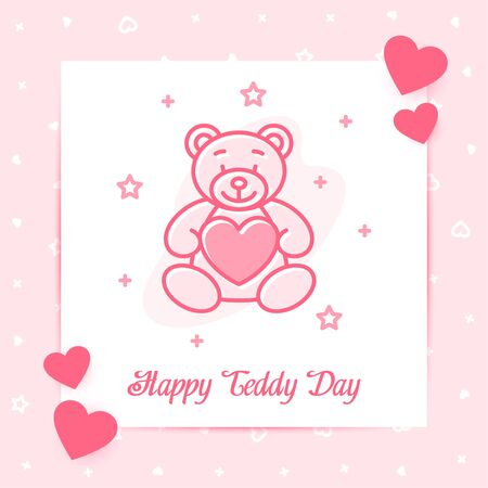 Teddy Bear on valentine card with text for happy Valentine's day, february 14, pink color, line icon style with decor, social network post template. Love, wedding, romantic symbol. Vector illustration