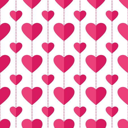 Heart seamless pattern. Love, valentine's day, wedding, romantic symbol. Paper style pink, red hearts garland repeat ornament background for wrap, fabric print, wallpaper decor. Vector illustration Vettoriali