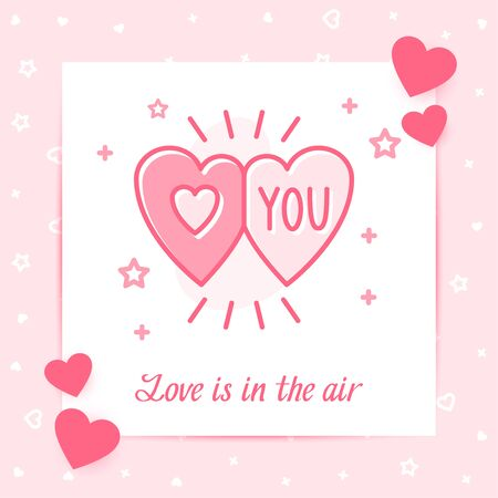 Two hearts on valentine card with Love you text for happy Valentine's day, february 14, pink color, line icon style with decor, post template. Love, wedding, romantic symbol. Vector illustration